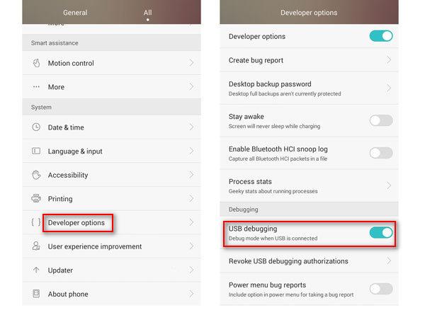 Ouvrir le débogage USB de l'appareil Android