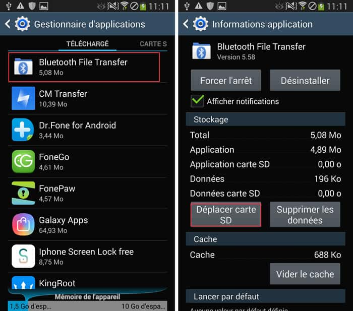 Transférer application Android sur carte SD