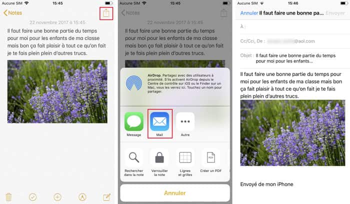 Envoyer les notes iPhone vers Mail