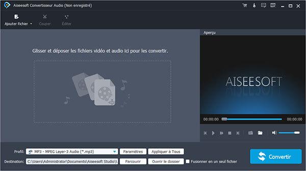 Aiseesoft MP3 Convertisseur pour Mac Gratuit est le meilleur logiciel de conversion vidéo/audio en MP3 qui vous permet de convertir tous les formats vidéo/audio en MP3 avec une qualité sonore élevée.