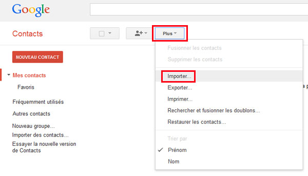 Importer les contacts iPhone vers Gmail