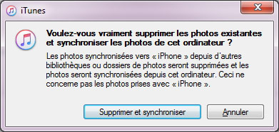 Messages lors de synchroniser les photos iPhone avec iTunes
