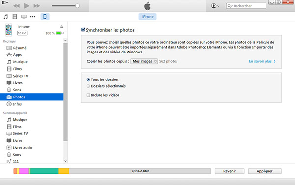 Synchroniser les photos iPhone avec iTunes