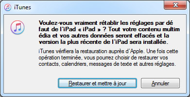 Confirmer la restauration iPad avec iTunes