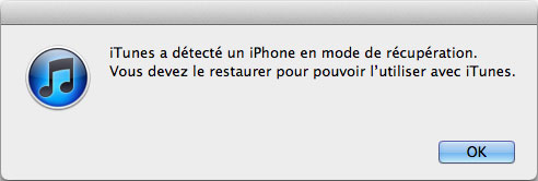Mode de restauration sur iTunes