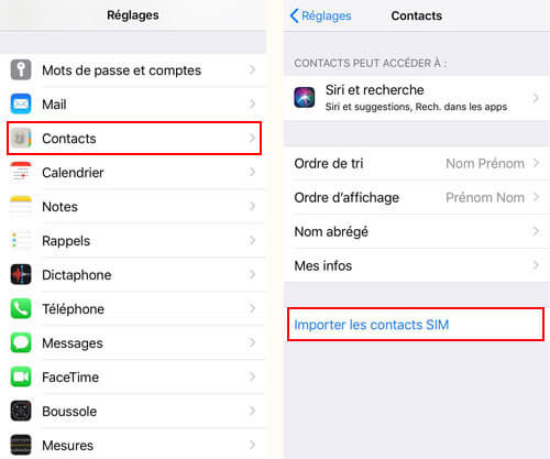Importer les contacts SIM vers iPhone