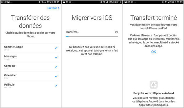 Transférer WhatsApp Android vers iPhone avec Migrer vers iOS
