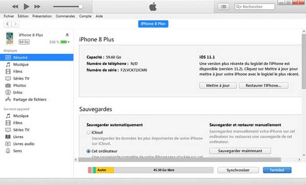 Sauvegarder contacts iPhone avec iTunes
