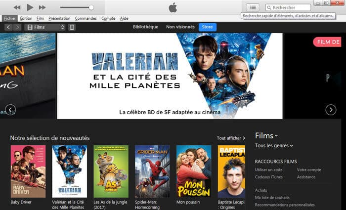 Films sur iTunes Store