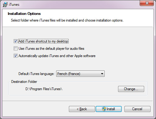 Options de l'installation iTunes