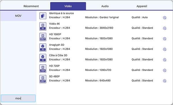Comment convertir le fichier MOV en AVI/MP4 sous Mac/PC