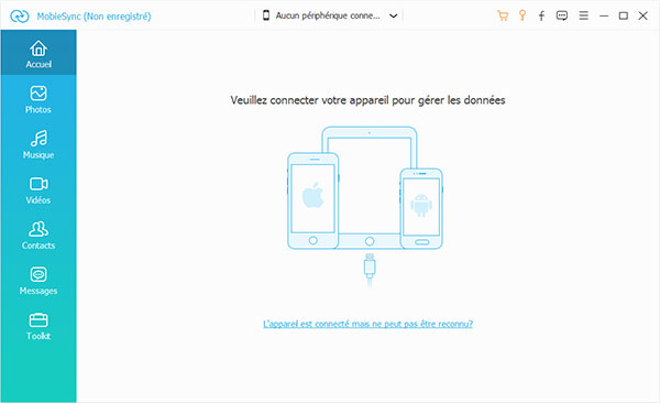 Interface de MobieSync