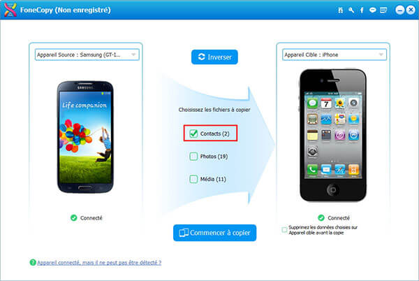 Transférer les contacts Android vers iPhone
