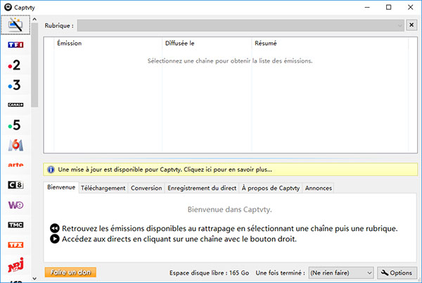 Interface de Captvty